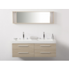 Beliani Bézs fürdoszoba bútor + két mosdó + tükör - Fürdoszoba szekrény - MALAGA