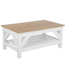 Beliani Dekoratív Fehér És Világos Fa Dohányzóasztal 100 x 60 cm SAVANNAH bútor