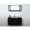 Beliani Fekete fürdoszoba bútor + mosdó + tükör - Fürdoszoba szekrény - BARCELONA