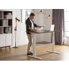 Beliani Íróasztal barna-fehér kézi magasságállítás 160x70 cm UPLIFT
