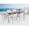 Beliani Kerti bútor szett - Polírozott fekete gránit asztallap 180 cm - 6 db.  fehér b6421923f5