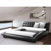 Beliani Luxus franciaágy 180x200 cm - Bor ágy - Ágyrács - fekete - LILLE