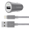 Belkin MIXIT UP Metallic Universal Car Charger with Lightning Cable Gray