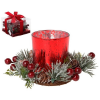 BigBuy Christmas Gyertyatartó Kristály Piros