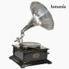 BigBuy Home gramofon Négyzetben Fekete Ezüst - Old Style Gyűjtemény by Homania
