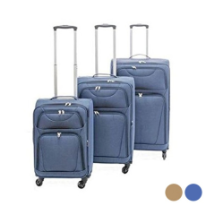 BigBuy Home Kabin bőrönd Set s Szövet 3 Darabok (Tengerészkék)