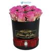 Bloom for You fekete rózsa box rózsaszín rózsával