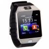 Bluetooth karóra, SmartWatch, szilikon szíj, kamera, SIM kártya foglalat, USB töltőkábel, ezüst/fekete