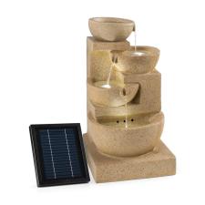 Blumfeldt Korinth, díszszökőkút, kerti szökőkút, 3 W-os napelem, LED, homokkő hatás kerti dekoráció
