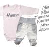 Body és baby nadrág szett saját névvel - ezüst betűkkel