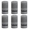 Bolsius 6 db  rusztikus oszlopgyertya 130 x 68 mm világosszürke