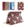 Bőrtok, Samsung Galaxy Tab 3 10.1 P5200 / P5210 mappa tok, virágmintás, piros