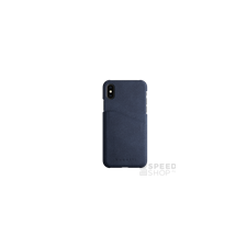 BUGATTI Londra Apple iPhone X valódi bőr hátlap tok kártyatartóval, kék tok és táska