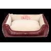 Cazo Paris puha bőr kutyaágy - vörös és bézs