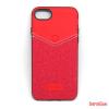 CELLECT elegáns hátlap, iPhone 7/8 Plus,bőr/textil,piros