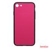 CELLECT Üveghátlapos szilikon tok, iPhone 8, Magenta