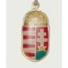 Címeres arany színű nyaklánc bőrszíjjal (35x18 mm)