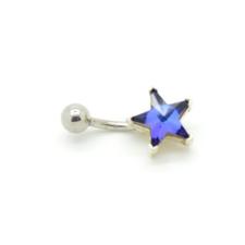 Cirkónia kővel diszített köldök piercing. Kék csillag. testékszer