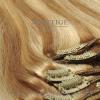 Csatos eredeti póthaj 45 cm (ombre)szupervilágos barna/platina/platina