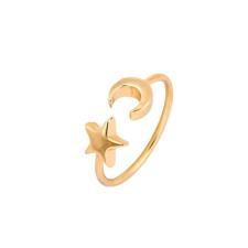 Csillag és Hold állítható méretű gyűrű, arany színű gyűrű