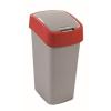 CURVER Billenős szelektív hulladékgyűjtő, műanyag, 50 l, CURVER, piros/szürke (UCF03)