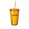 Cyclone duplafalú pohár szívószállal, sárga
