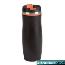 DARK CREMA duplafalú termosz bögre, fekete/narancs ajándéktárgy