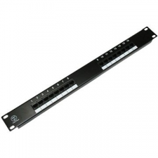 Datacom Adatátviteli, 16x RJ45, közvetlen, CAT5E UTP, fekete, 1U kábel és adapter