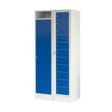David gyűjtő és rekeszes szekrény, 2 részes, hengerzár, szürke/kék