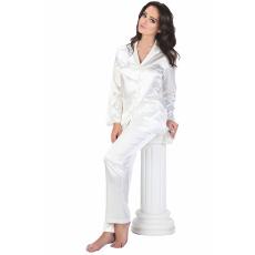 De Lafense Classic női fehér szatén pizsama, hosszú S