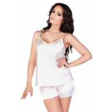 De Lafense Classic női szatén pizsama, fehér L