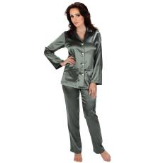 De Lafense Classic női szatén pizsama, hosszú, szürke XL