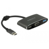 DELOCK Adapter USB Type-C™ apa > VGA anya (DP Alt mód) + USB A-típusú + USB Type-C™ PD