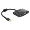 DELOCK Átalakító mini Displayport 1.1 male to HDMI/VGA female, fekete