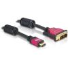 DELOCK HDMI -> DVI-D M/M video jelkábel 2m High Speed fekete
