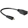 DELOCK HDMI micro D (M) -> HDMI A (F) 0.23m