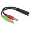 DELOCK jack (F) 3.5 mm - 2 x stereo jack (M) 3.5 mm kábel
