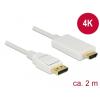 DELOCK Kábel Displayport 1.2 dugó > High Speed HDMI-A dugó passzív 4K 2 m fehér