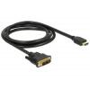 DELOCK Kábel DVI 18+1 csatlakozódugóval - HDMI-A csatlakozódugóval, 5,0m, fekete