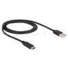 DELOCK kábel USB 2.0 Type-C male to USB 2.0 A male, 1m (DL83600)