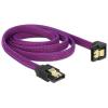 DELOCK SATA cable 6 Gb/s 100 cm down / straight metal purple Premium