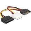 DELOCK SATA (M) - Molex (F) + SATA (F) tápátalakító kábel (16 cm)