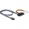 DELOCK SATA Molex Power 4pin -> SATA All-in-One F/F adatkábel 0.4m piros