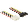 DELOCK SATA Power 15pin -> Molex Power 4pin M/F tápkábel 1m