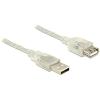 DELOCK USB 2.0-s bővítőkábel A-típusú csatlakozódugóval > USB 2.0-s, A-típusú csatlakozóhüvellyel 1m