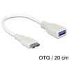 DELOCK USB 3.0 micro B -> USB 3.0 A M/F adatkábel 0.2m OTG fehér