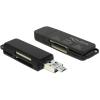 DELOCK USB 3.0 SD/MicroSD kártyaolvasó fekete OTG