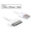 DELOCK USB A -> iPod/iPhone(3,4)/iPad 3Gen. M/M adatkábel 1.8m fehér