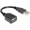 DELOCK USB A -> M/F adatkábel 0.16m fekete