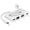 DELOCK USB Type-C USB 3.1 dokkoló állomás HDMI 4K 30 Hz + VGA + LAN + USB PD